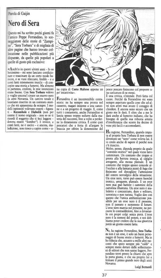"""Articolo """"NERO DI SERA"""" , tratto dal n. 67 della rivista Comic Art"""