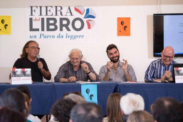 un momento dell'incontro che si è tenuto alla Fiera del Libro 2017 al parco corolla con  Salvo Vitale, Lelio Bonaccorso e Faro Di Maggio