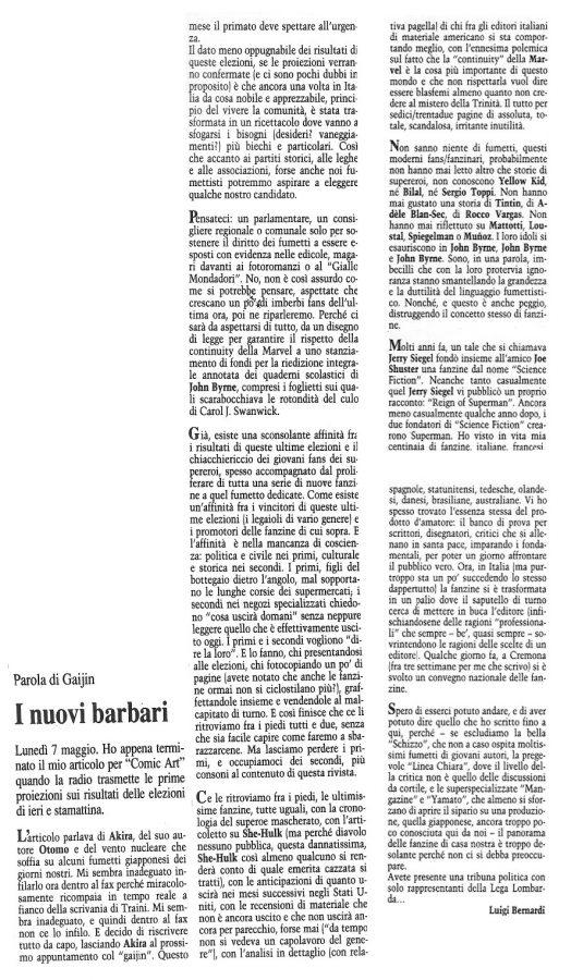 """Articolo """"I NUOVI BARBARI"""", tratto dal n. 68 della rivista Comic Art"""