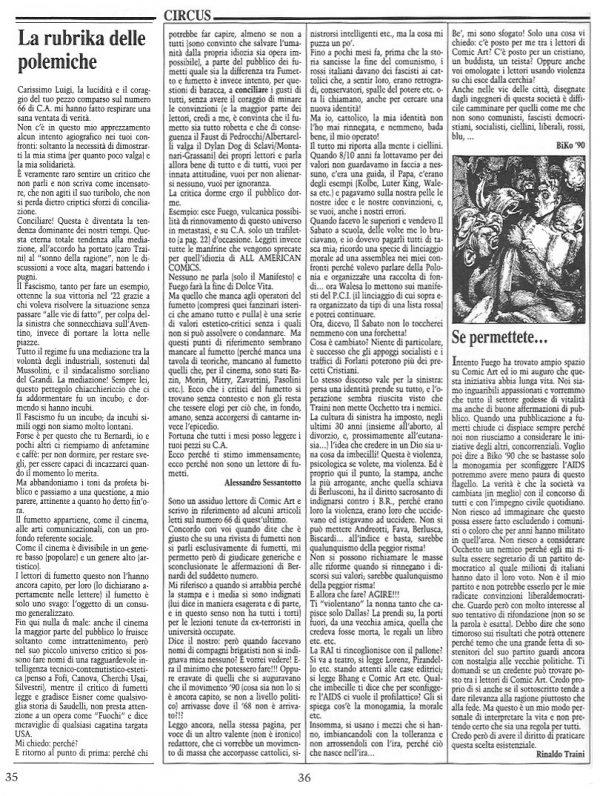 """Articolo """"La rubrika delle polemiche"""" , tratto dal n. 68 della rivista Comic Art, con in coda un intervento di Rinaldo traini."""