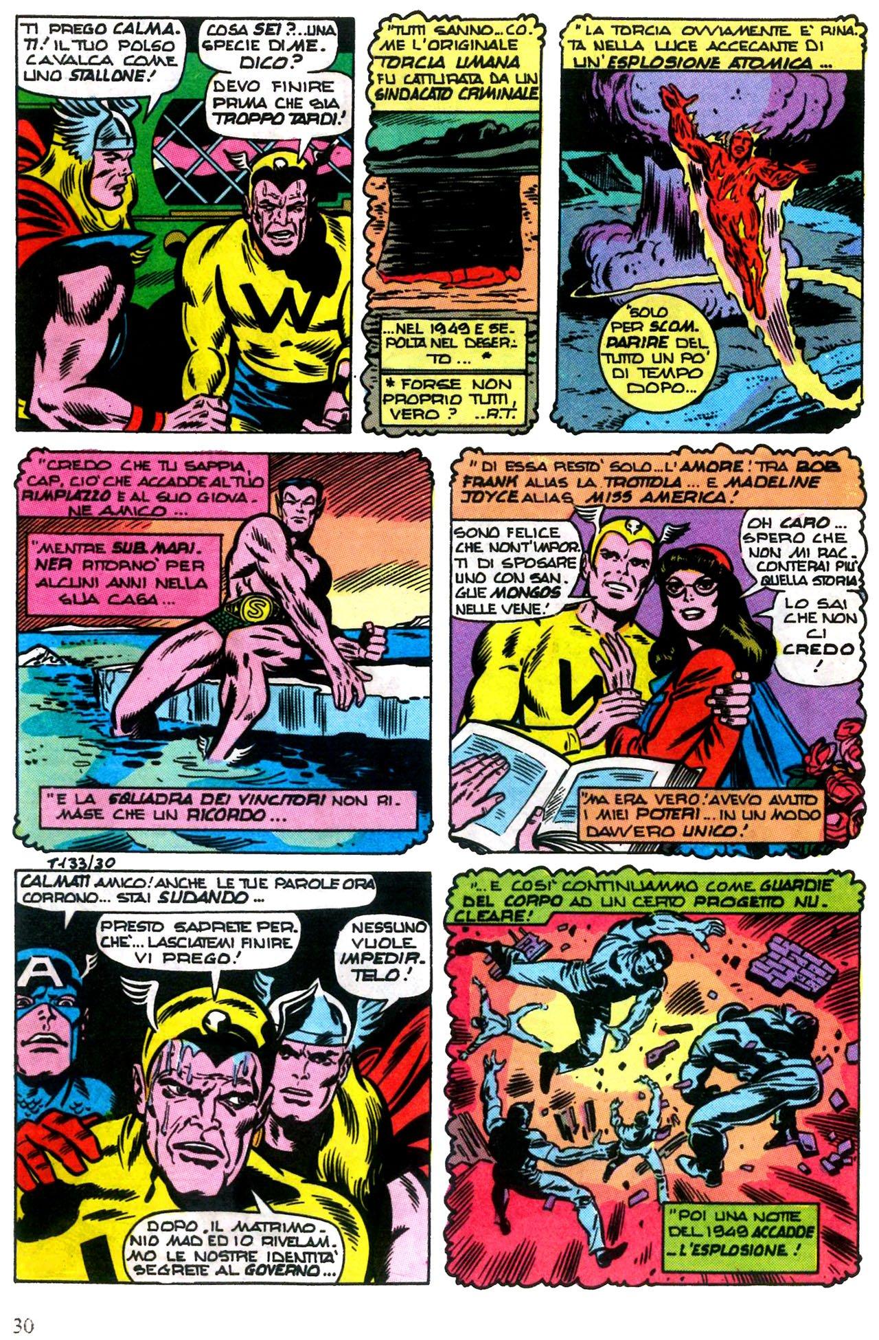 """Mitica tavola a fumetti estratta dalla collana """"il mitico thor n. 133"""" riassuntiva di alcuni fatti salienti nella vita di Robert Frank e Madeline Joyce."""