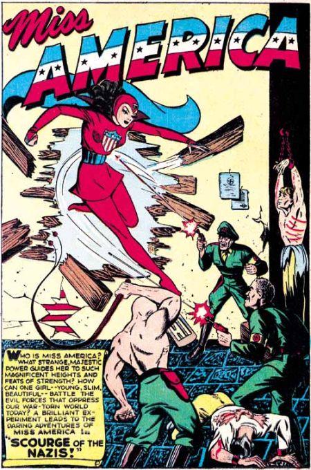 """Tavola introduttiva alla prima apparizione di Miss America, tratta dall'albo Marvel Mystery Comics N° 49"""" (nov. 1943)"""