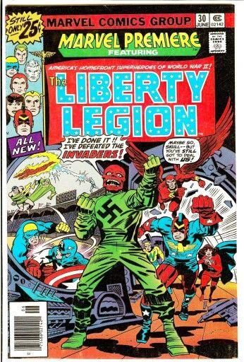 La copertina di SuMarvel Premiere N° 29 dell'Aprile 1976, in cui Roy, ci presenta una squadra di supereroi , la Legione della Libertà (The Liberty Legion) in cui militava anche Miss America.