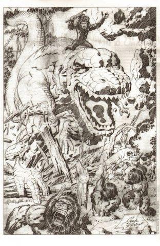 copertina a matita di Jack Kriby, del n. 1 della serie Devil Dinosaur