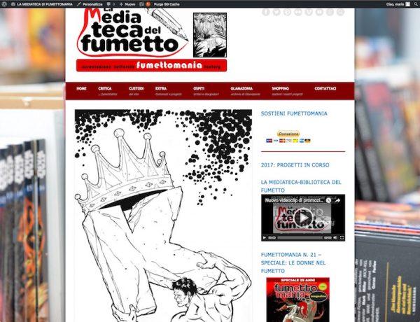 """Home page del sito-magazine """"La Mediateca di Fumettomania"""" (dal 2016 in poi)"""
