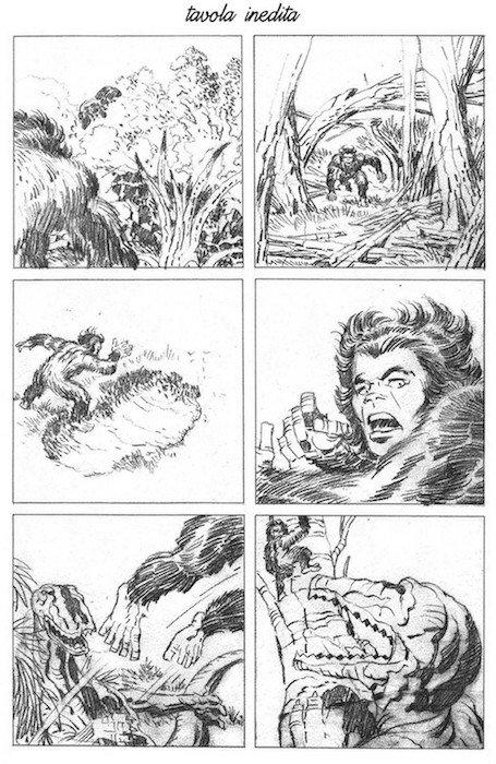Matite di una tavola inedita di Jack Kirby, della serie Devil Dinosaur
