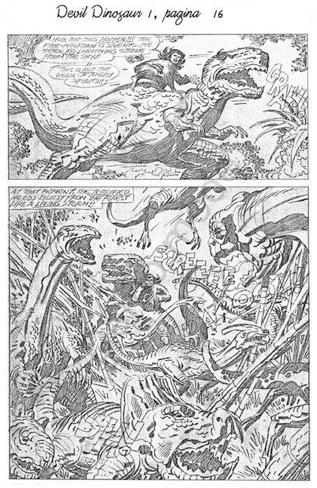 Matite di Jack Kirby, della pagina 16 del n. 1 della serie Devil Dinosaur
