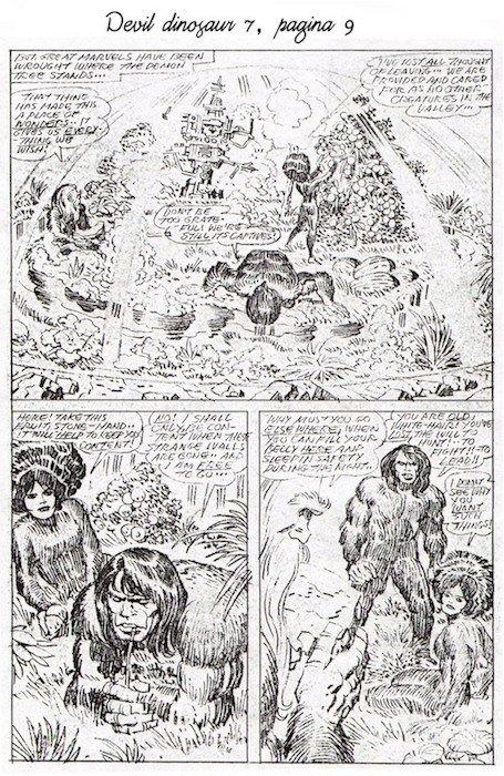 Matite di jack Kirby della pagina 9 del n. 7 della serie Devil Dinosaur
