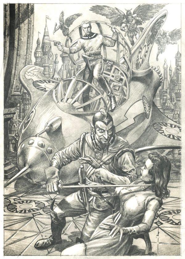 copertina di un albo recente dedicato a Flash Gordon - versione in B/N