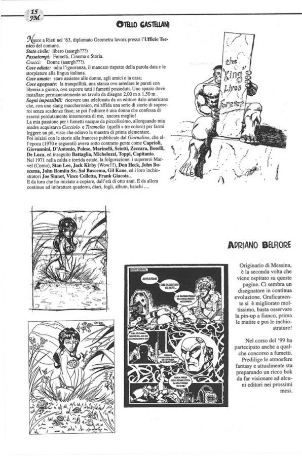 ed ecco la pagina 15i Fumettomania n. 12 (2000) che contiene l'ultimo intervento dI Otello castellani e al sua biografia.