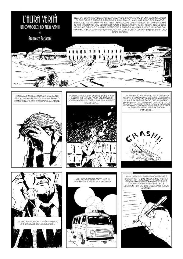 """OMAGGIO AD ALDA MERINI di Francesco Paciaroni. Il fumetto  è basato sulle prime pagine del libro """"L'altra verità"""" di Alda Merini. Pagina 1"""