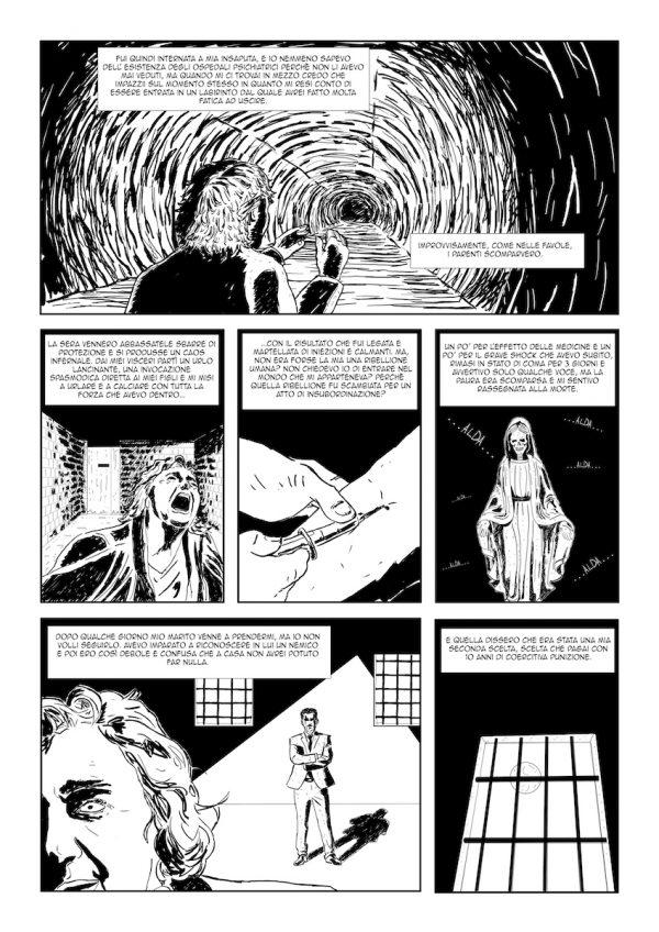 """OMAGGIO AD ALDA MERINI di Francesco Paciaroni. Il fumetto  è basato sulle prime pagine del libro """"L'altra verità"""" di Alda Merini. Pagina 2"""