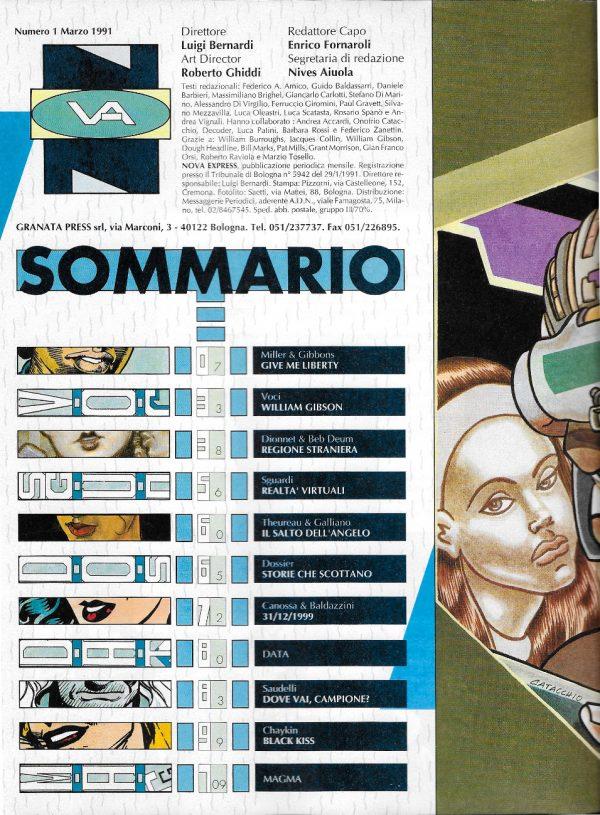 Sommario del n. 1 della rivista Nova Express