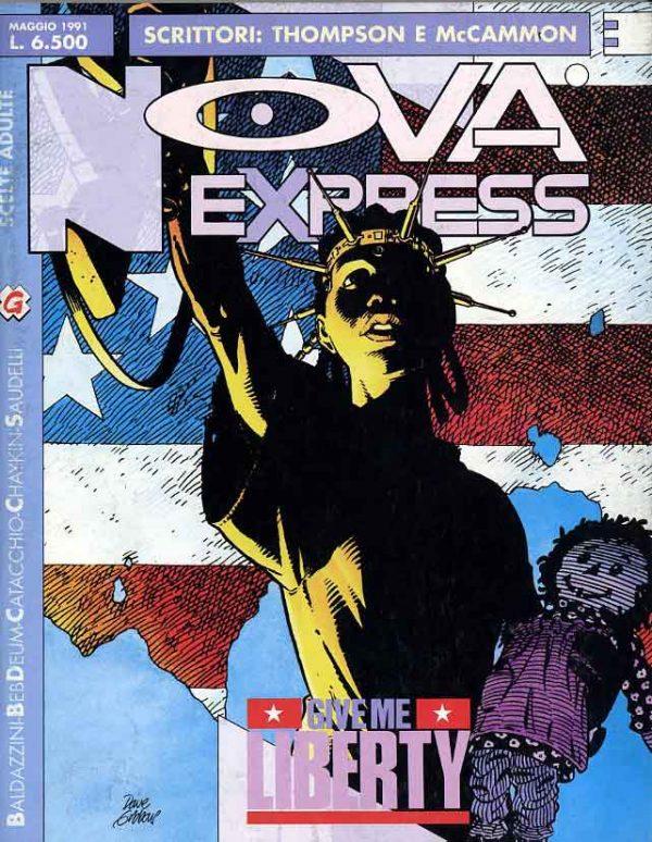 Copertina del n. 3 della rivista Nova Express, dedicata proprio alla miniserie GIVE ME LIBERTY