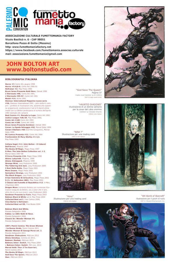 Secondo poster dedicato a John Bolton, per il Palermo Comic Convention 2017