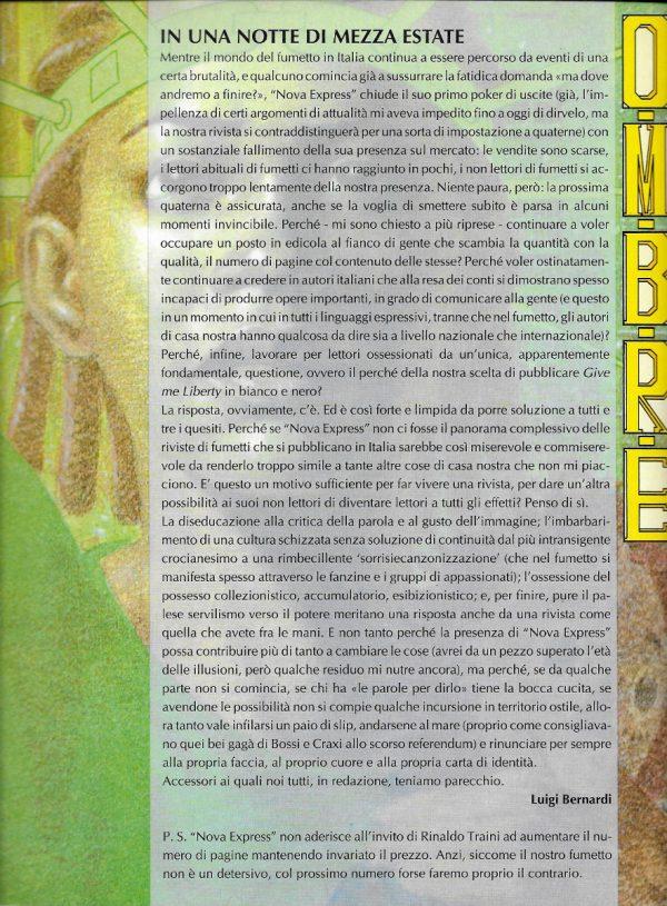 Editoriale scritto da Luigi Bernardi del n. 4 della rivista Nova Express