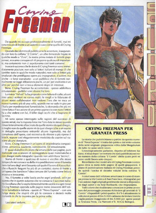 Articolo di presentazione della serie Crying Freeman, scritto da Luigi Bernardi