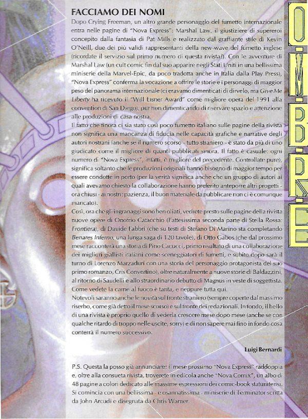 Editoriale scritto da Luigi Bernardi del n. 6 della rivista Nova Express