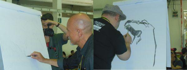 Claudio Castellini e Giuseppe Palumbo si sfidano sul ring con matite e pennarelli
