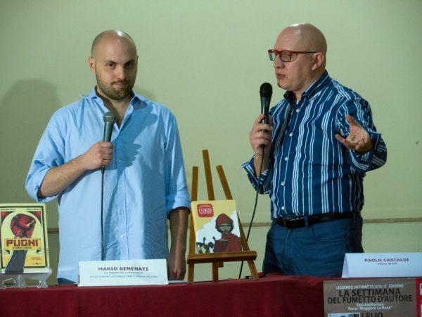 """Mario Benenati presenta l'autore di fumetti Paolo Castaldi alla platea dell'Auditorium """"mMaggiore La Rosa"""""""