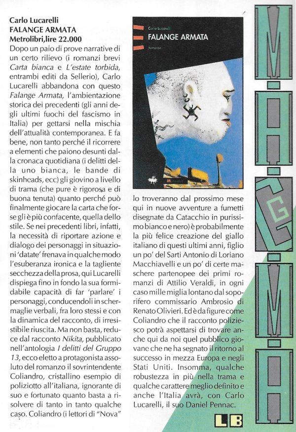 Recensione scritta da Luigi Bernardi dal n. 12 della rivista Nova Express