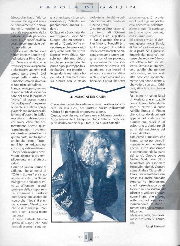 Editoriale-parola di Gaijin  scritto da Luigi Bernardi del n. 13 della rivista Nova Express