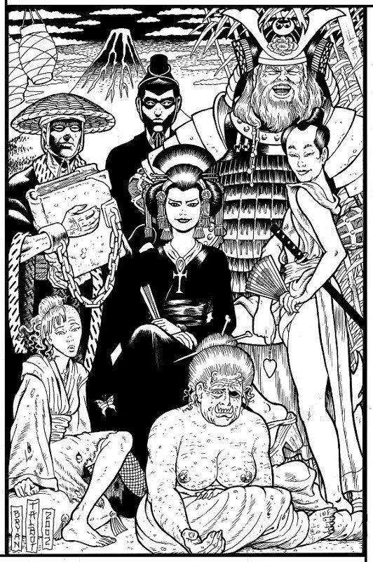 Illustrazione originale di Bryan Talbot, dedicata alla famiglia di Morfeo, realizzata per la copertina del n. 16 di Fumettomania (anno 2006).
