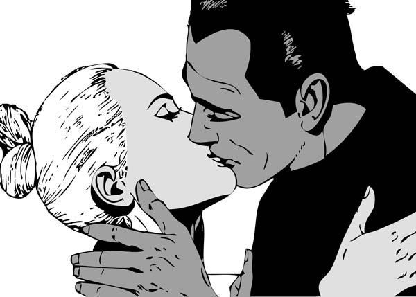 un bacio tra Eva e Diabolik