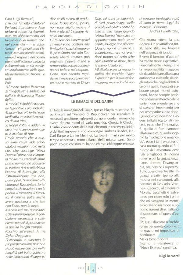 Editoriale-Parola di Gaijin scritto da Luigi Bernardi del n. 16 della rivista Nova Express