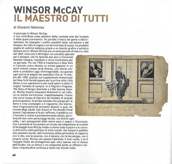 """Prima pagina del catalogo, dedicata alla mostra """"Winsor McCay, Il maestro di tutti"""
