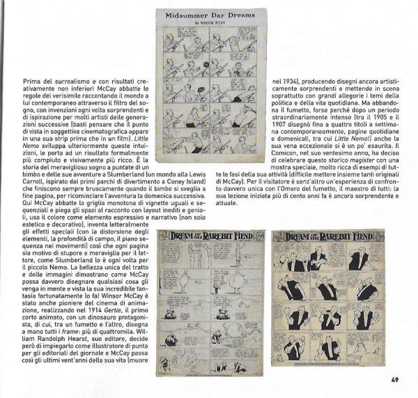 """Seconda pagina del catalogo, dedicata alla mostra """"Winsor McCay, Il maestro di tutti"""