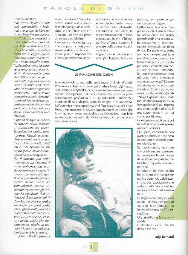 Editoriale-Parola di Gaijin scritto da Luigi Bernardi del n. 15 della rivista Nova Express
