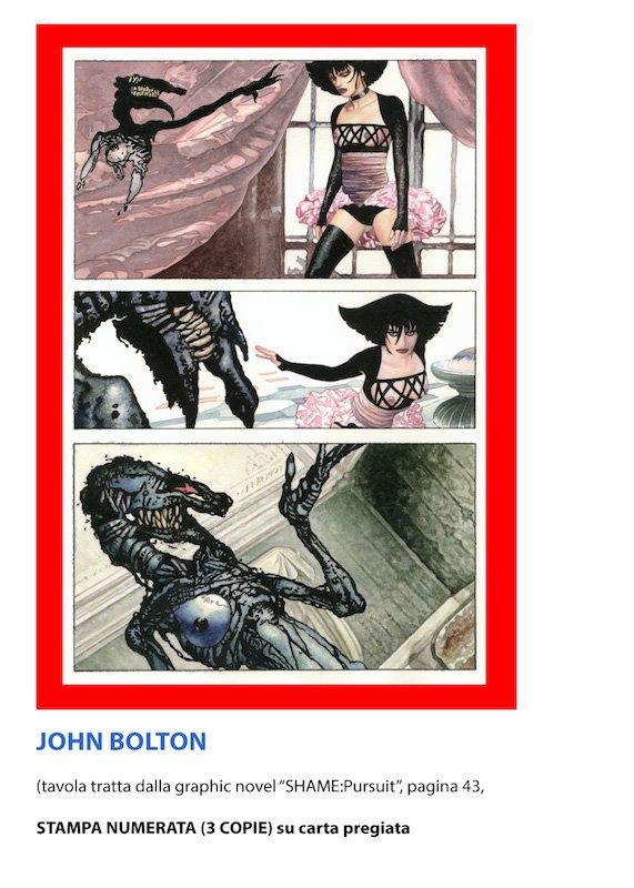 """stampa unica di una tavola del romanzo a fumetti """"Shame"""" di John Bolton"""