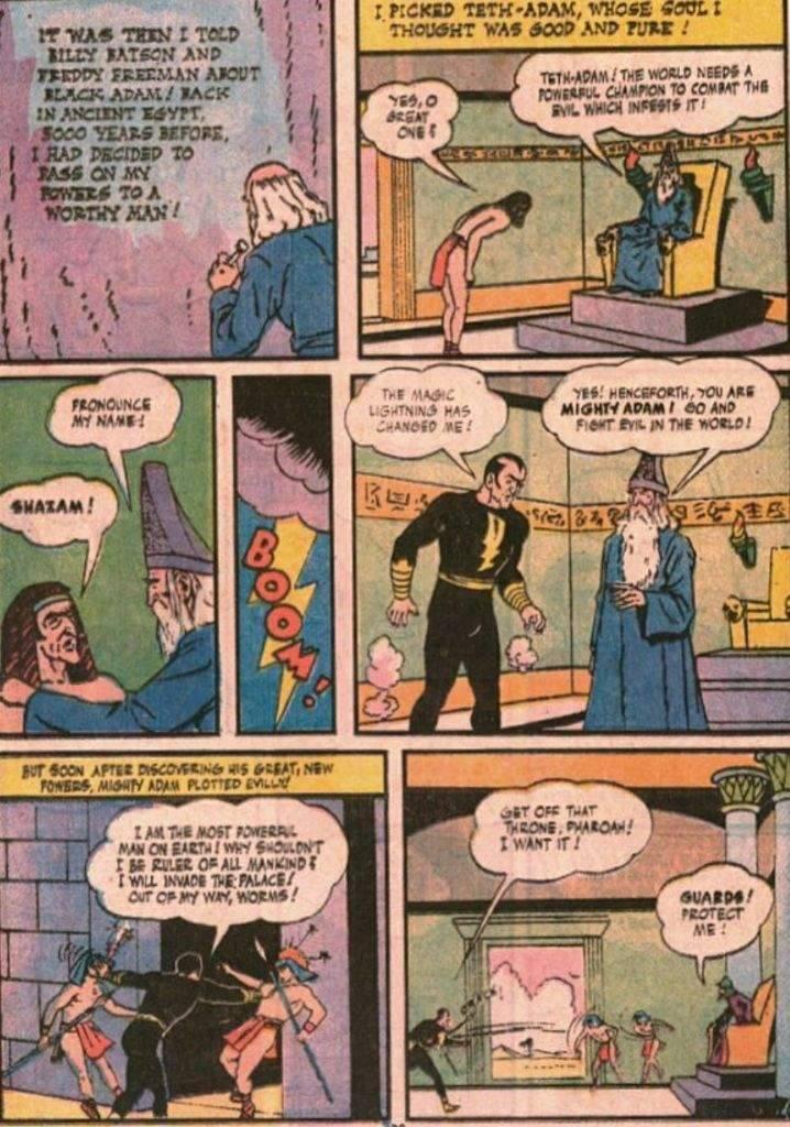 Teth adam al cospetto del mago Shazam prima di avere i poteri