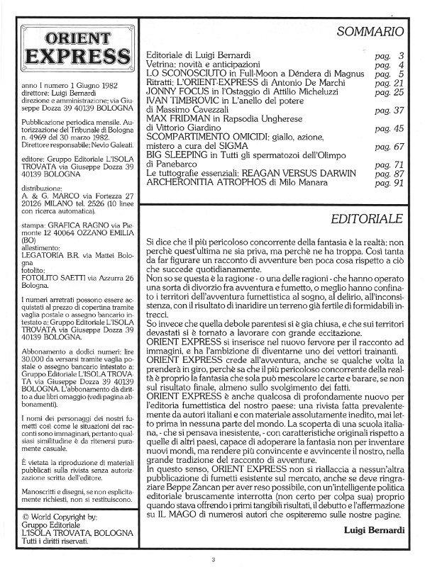 Pagina 3 della rivista Orient Express, che conteneva: Sommario, Editoriale Credits