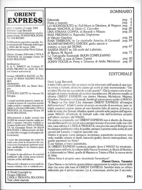 Pagina 3 della rivista Orient Express, che conteneva: Sommario, Editoriale e Credits