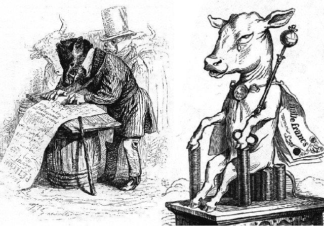 illustrazione di un vitello di  Jean Ignace Isadore Gérard