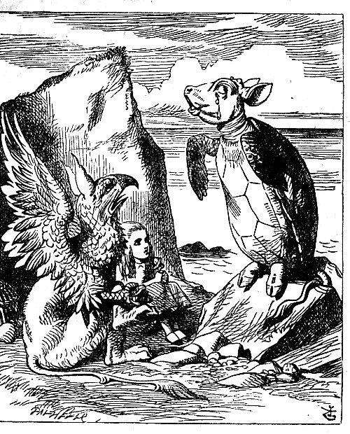 illustrazione della Falsa Tartaruga di Tenniel.