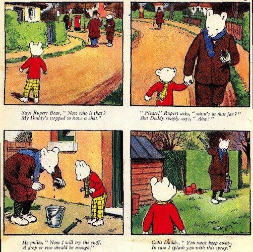 """Alcune vignettwe tratte dall'almanacco annuale di Rupert the Bear, scritto e disegnato da Alfred E Bestall, che ha influenzato """"Grandville""""."""