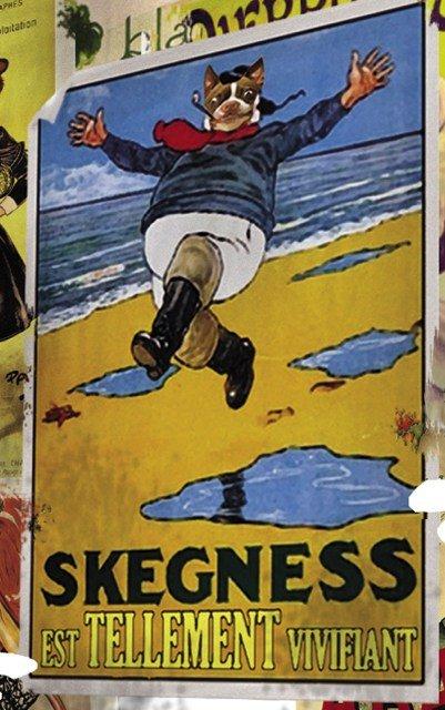 """Famoso poster del 1908 """"Skegness è così corroborante"""" di John Hassall, che i Grandville invece dice """"Skegness est tellement vivifiant""""!"""