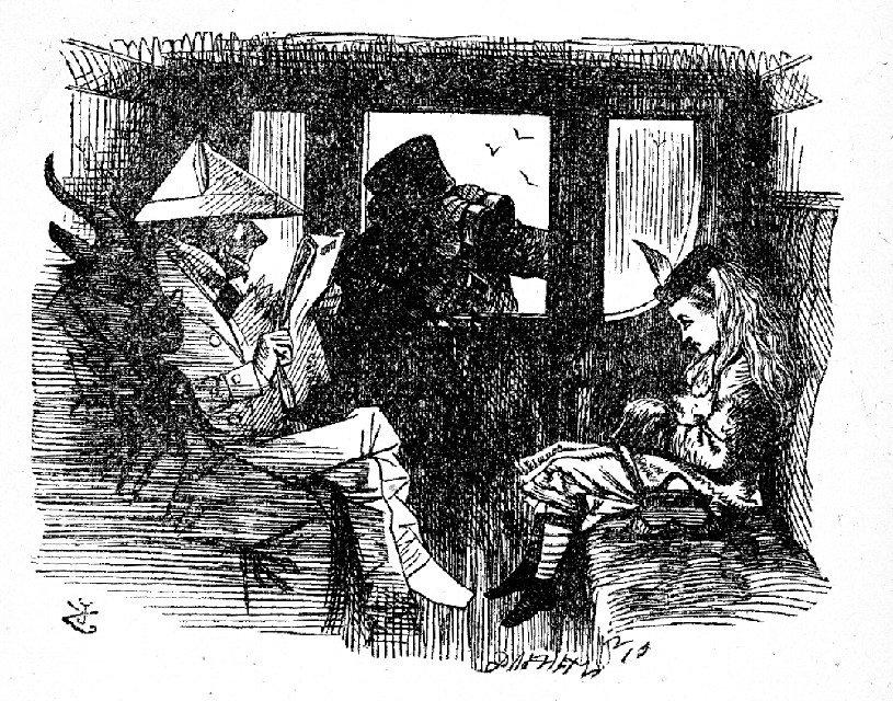 illustrazione di John Tenniel in Attraverso lo specchio e ciò che Alice vi trovò, realizzato dopo che l'autore vide l'opera di Egg presso la mostra annuale della Royal Academy.