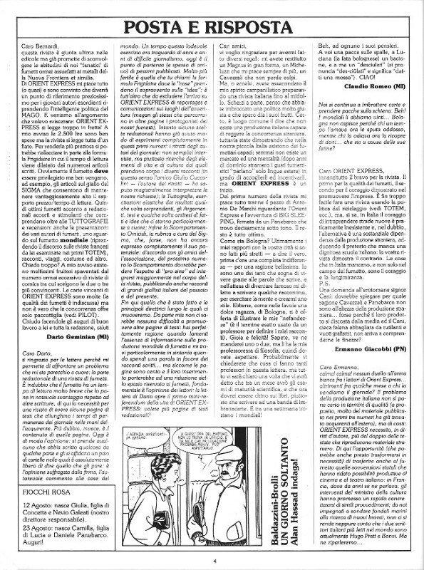 Pagina della posta, del n. 4 della rivista Orient Express
