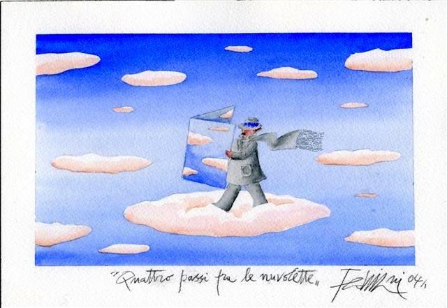 """Illustrazione di Fellini intitolata """"Quattro passi fra le nuvolette"""", 2004"""