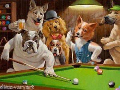 I cani che giocano a biliardo sono un riferimento ai famosi quadri di cani di Arthur Sarnoff (1912 - 2000).