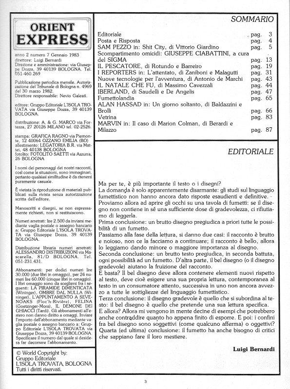 Pagina 3 del n. 7 della rivista Orient Express, che conteneva: Sommario, Editoriale e Credits