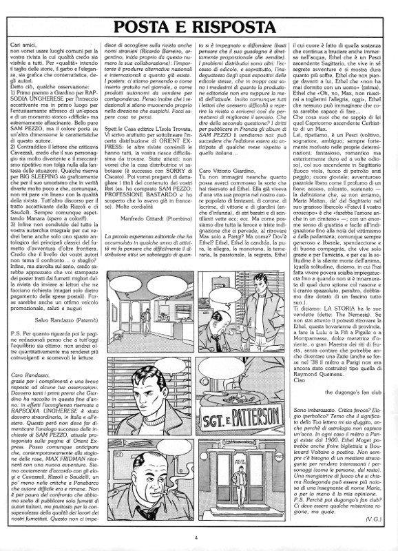 Pagina 4 del n. 7 di  Orient Express, che conteneva: POSTA E RISPOSTA