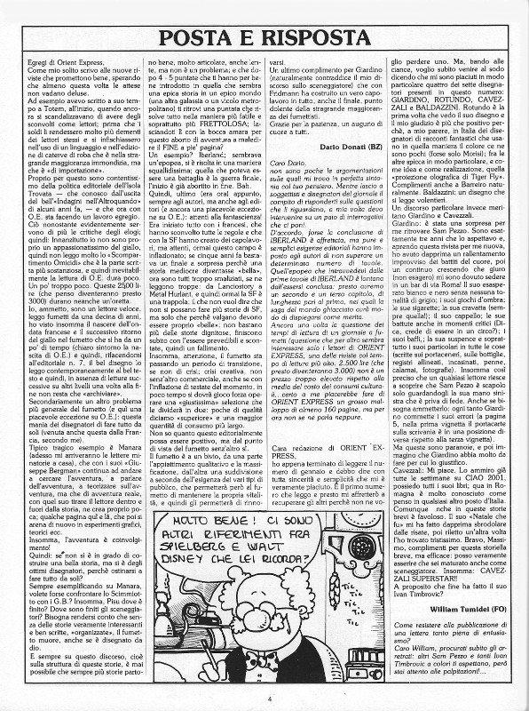 Pagina 4 della rivista Orient Express, che conteneva: Posta e Risposta