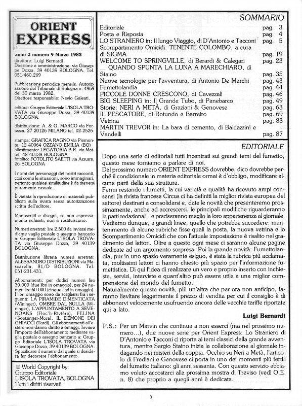 Pagina 3 del n. 9 della rivista Orient Express , che conteneva: Sommario, Editoriale e Credits