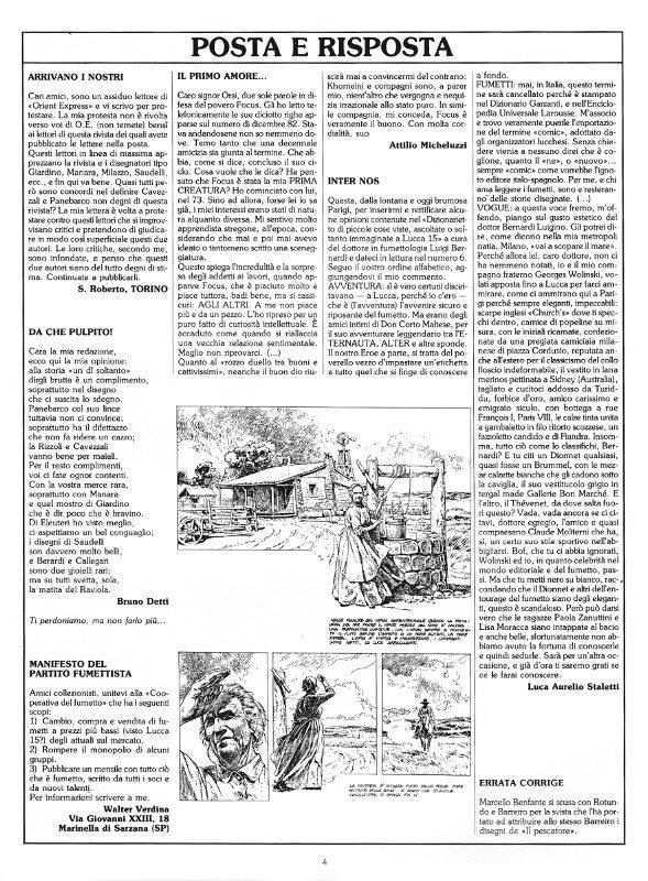 Pagina 4 del n. 9 della rivista Orient Express, che conteneva: Posta e Risposta