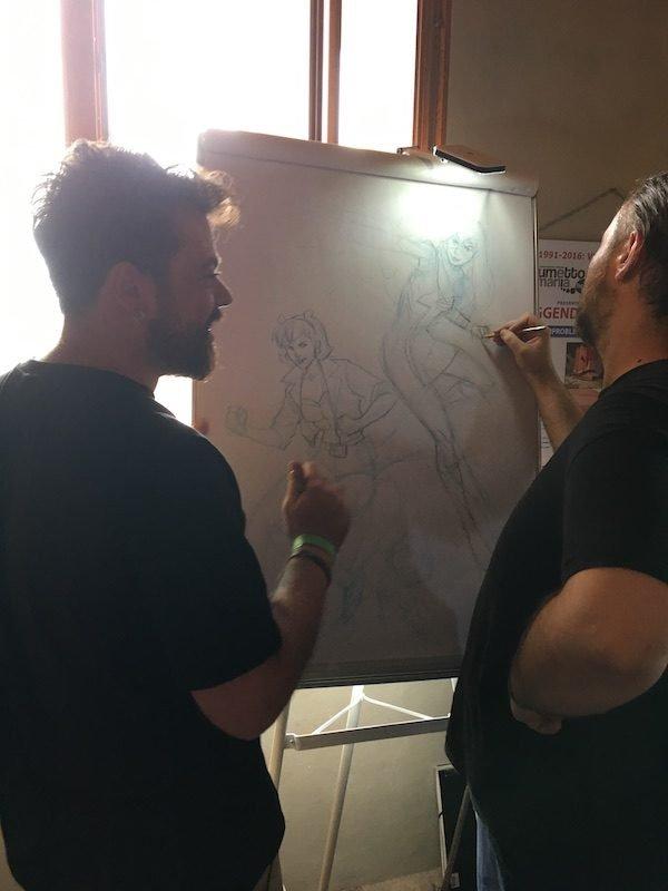 Rob Di Dalvo e Marco Failla disegnano un poster durante il Dragon Fest 2018